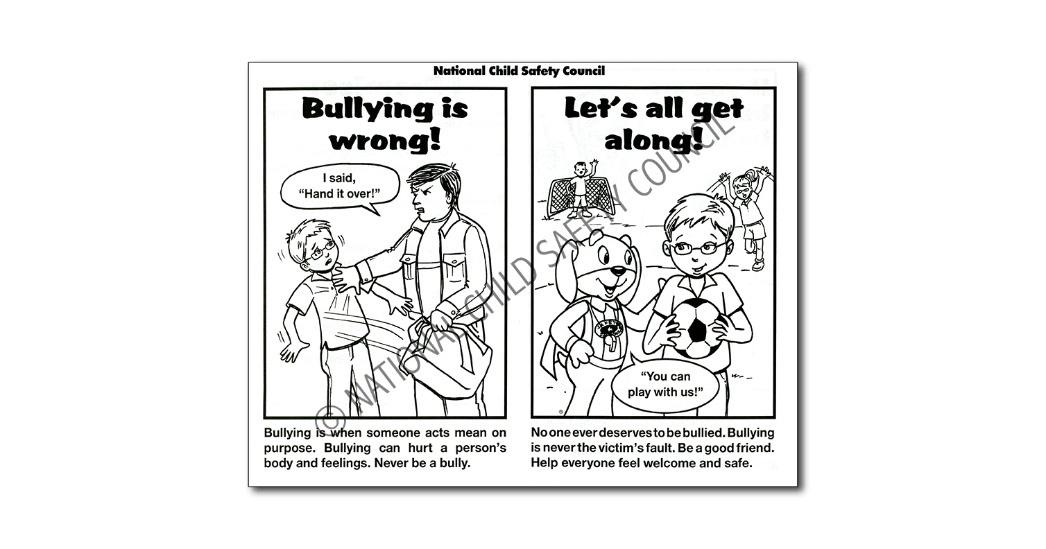 871: Bullying is Wrong! Let's All Get Along! Color / Activity Sheet